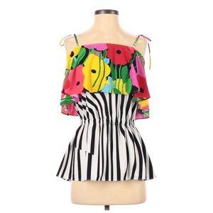 Tibi floral print striped fit & flare tie tank top